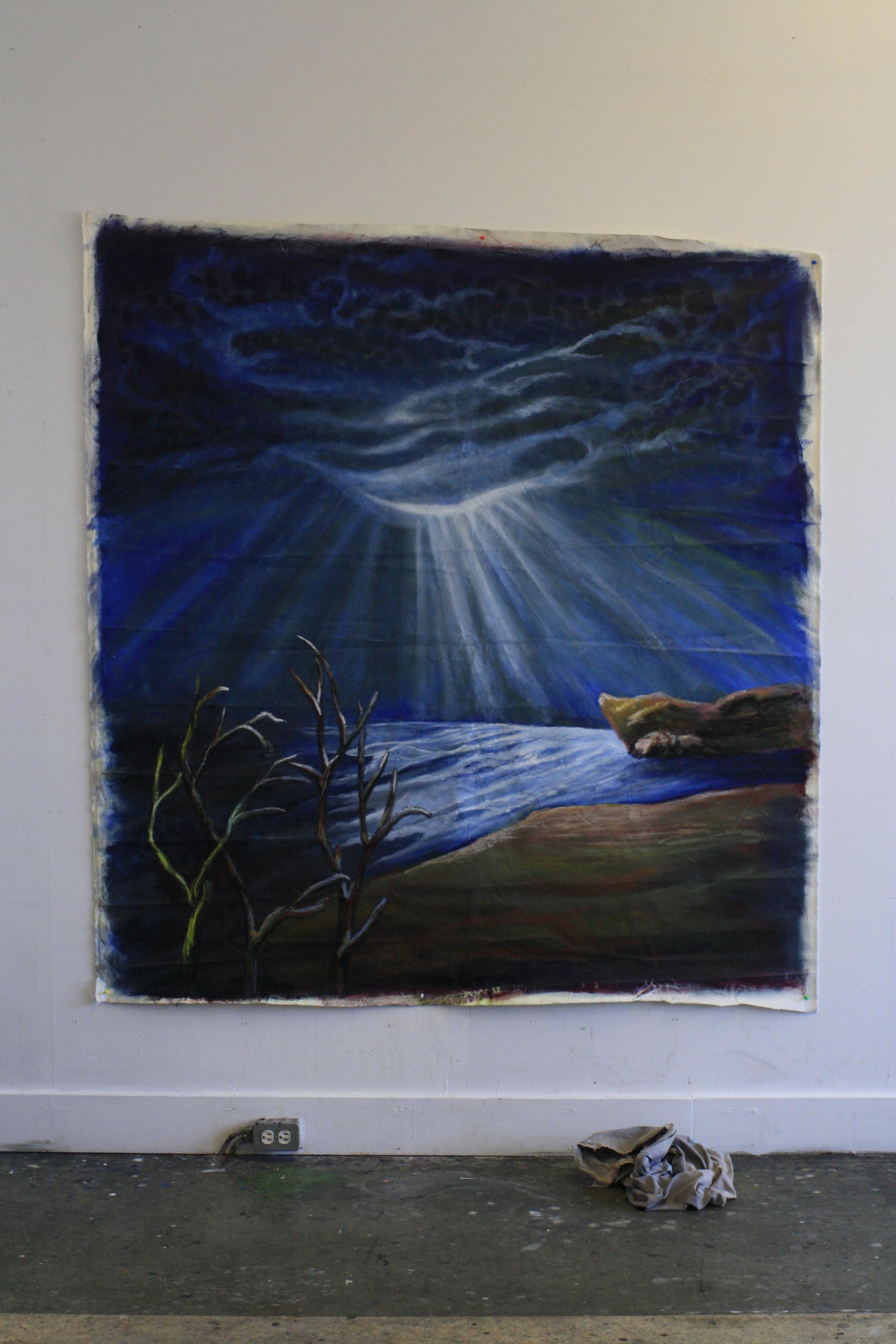 Trash-Can Carmichael - Oil on Canvass.  6'x6' $1200