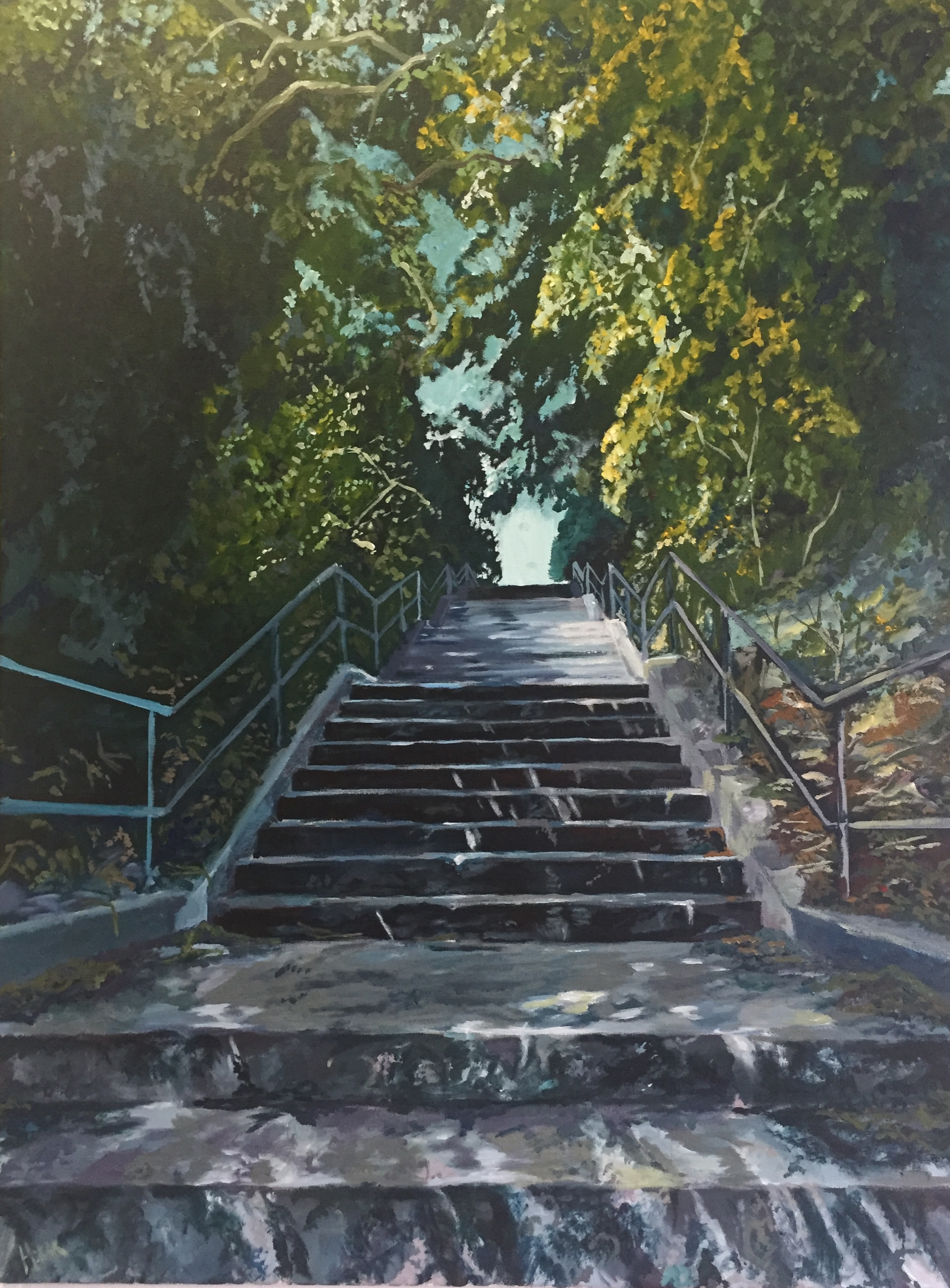 Staircase to Regal Road, Acrylic on Canvass.  3'x5' - SOLD
