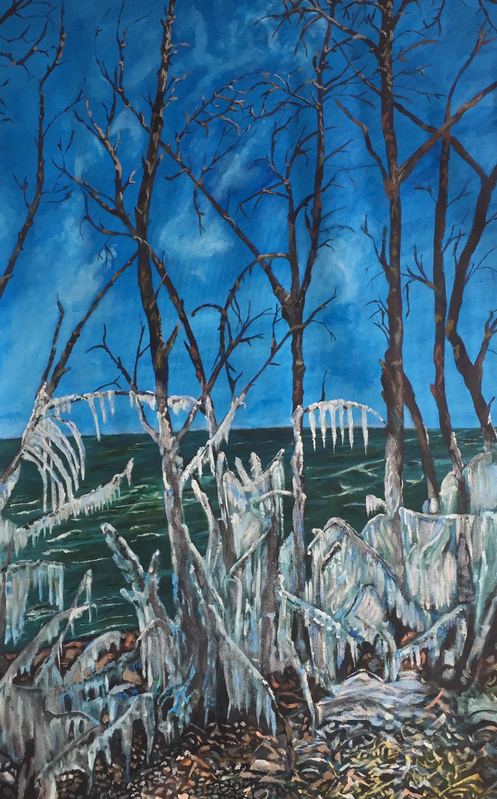 """The Ice Storm""  Acrylic on Canvass  30""x50""  $3750.  PopUp Price: $2250"