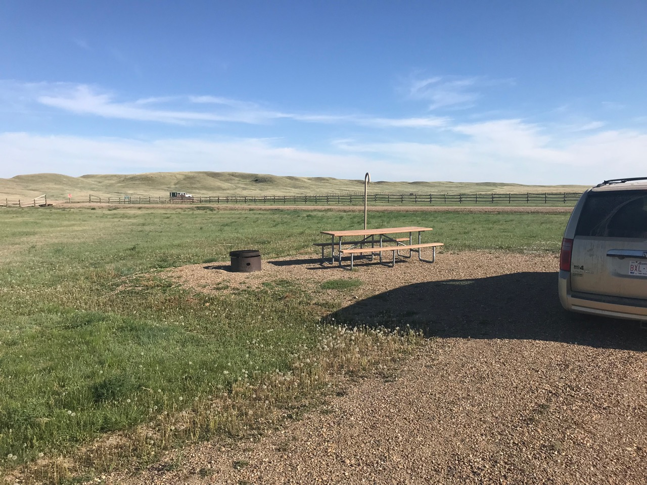 A barren campsite in Grasslands National Park, Sask.