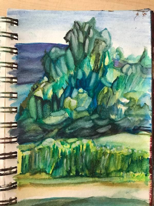 Playing with watercolour, Whycocomagh, NB