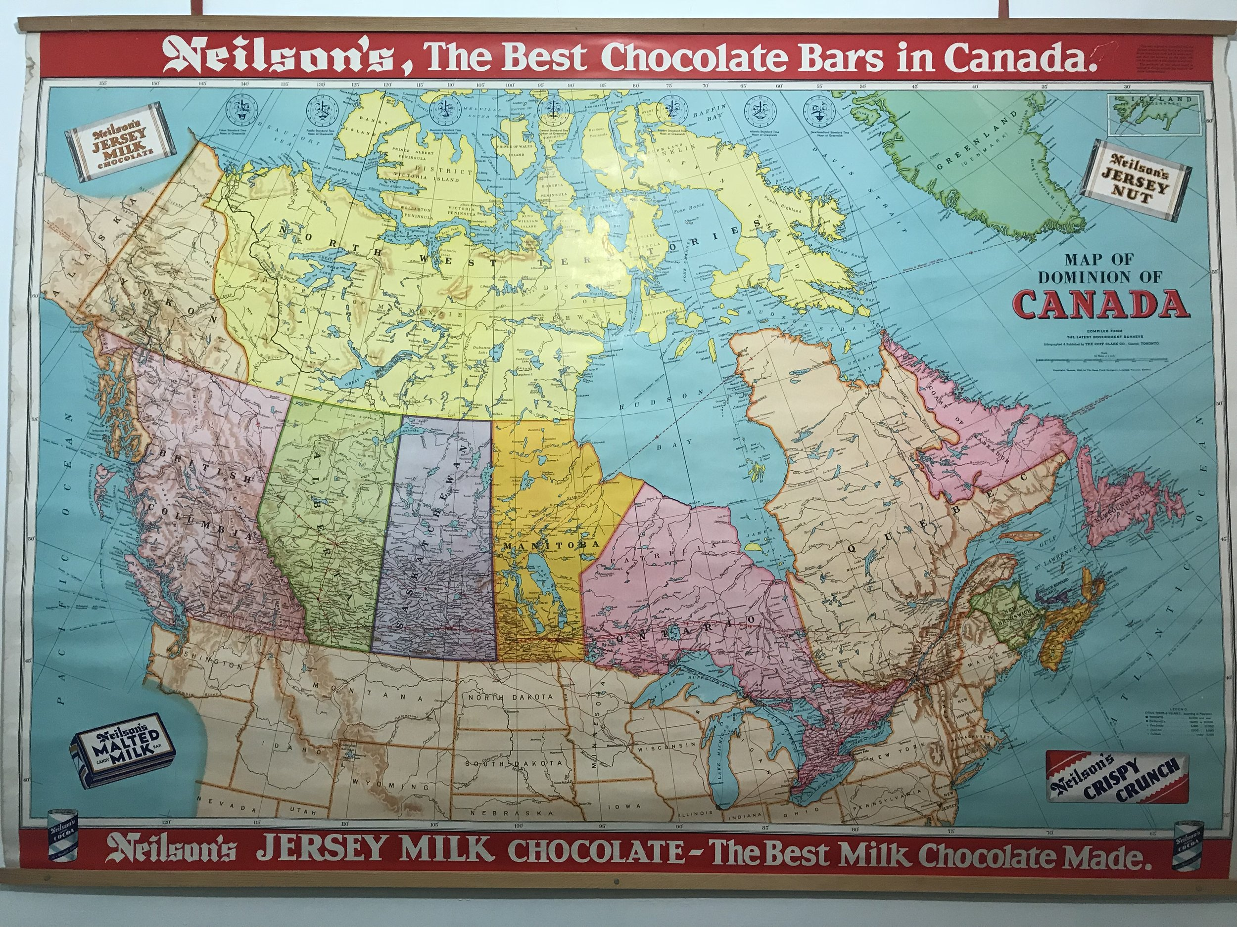 This country is big, yeah? Found this old map in the washroom at a cafe somewhere in New Brunswick