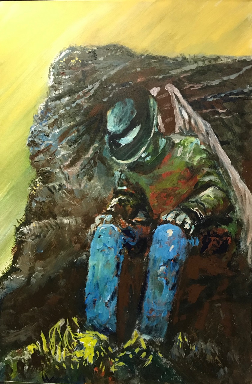"The Fallen Cowboy.  Acrylic on Canvas.  24""36"" $2160.  PopUp Price: $1296"