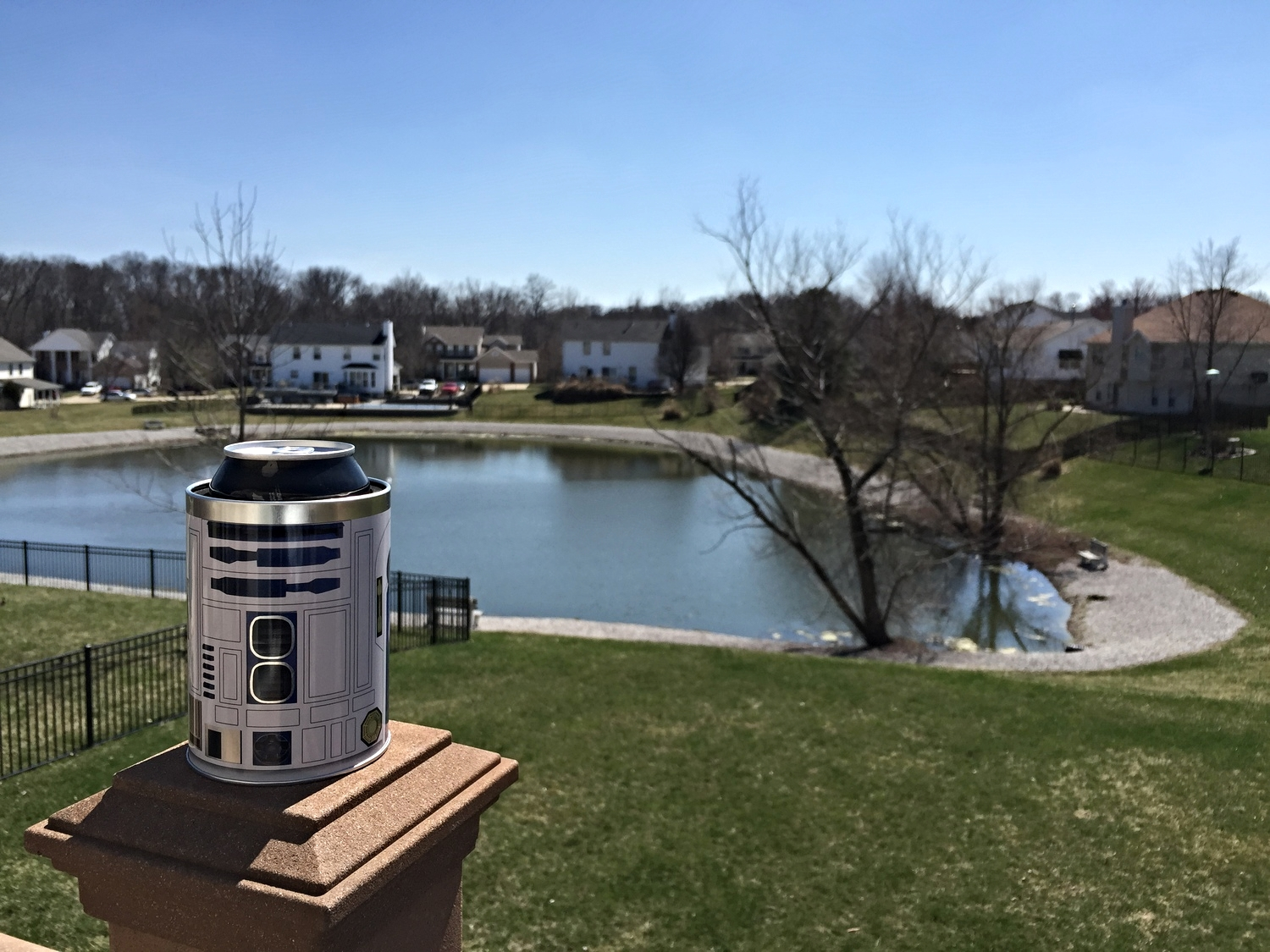 Enjoying a Beverage with my Sweet R2-D2 koozie