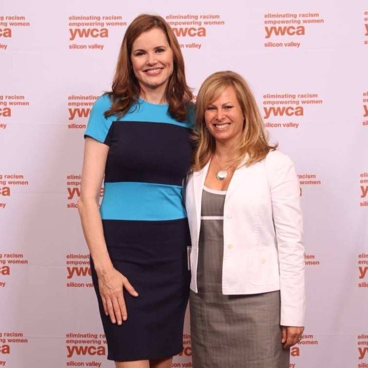 Allison Kluger and Geena Davis at the annual YWCA luncheon.