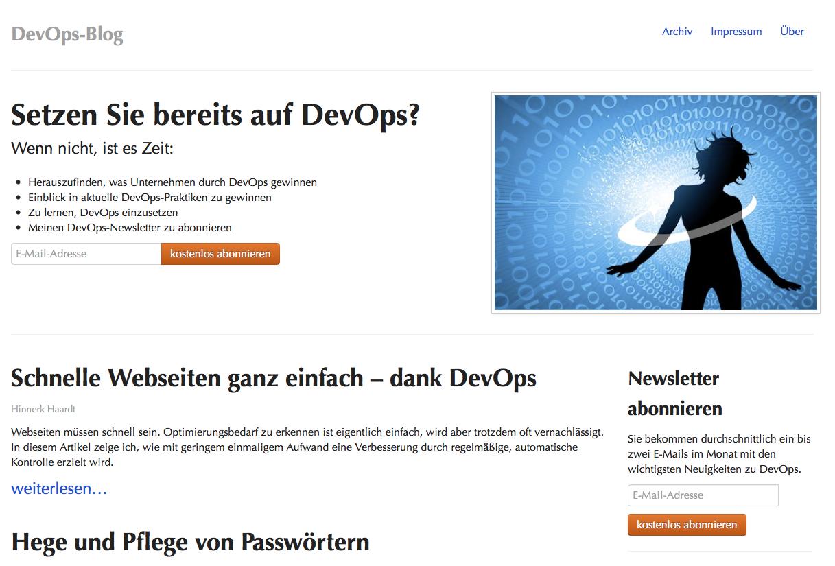 Screenshot »DevOps-Blog« – Klick aufs Bild führt zur Homepage