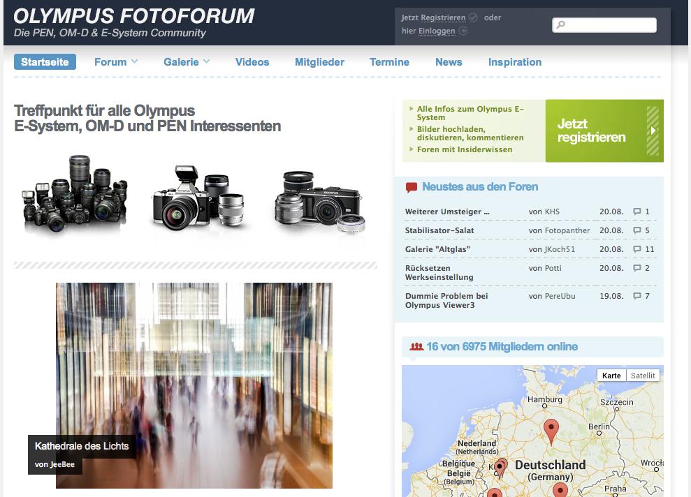 Screenshot »Olympus Fotoforum« – Klick aufs Bild führt zur Homepage