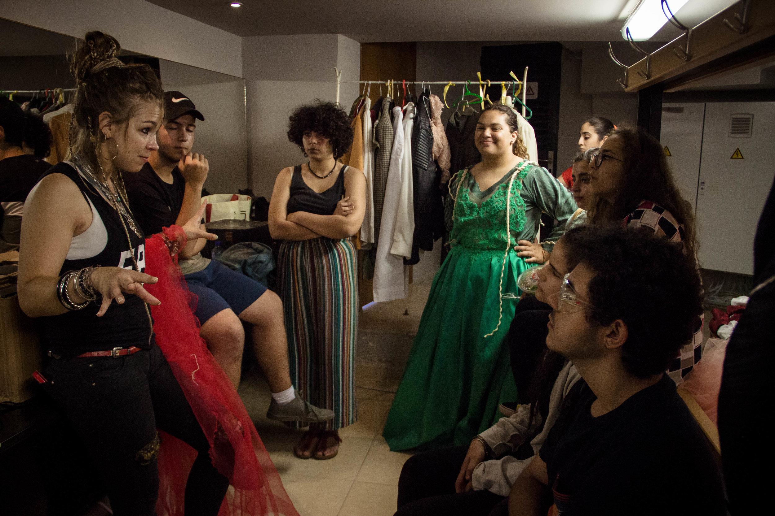 Backstage at the Ramallah Municipal Theatre