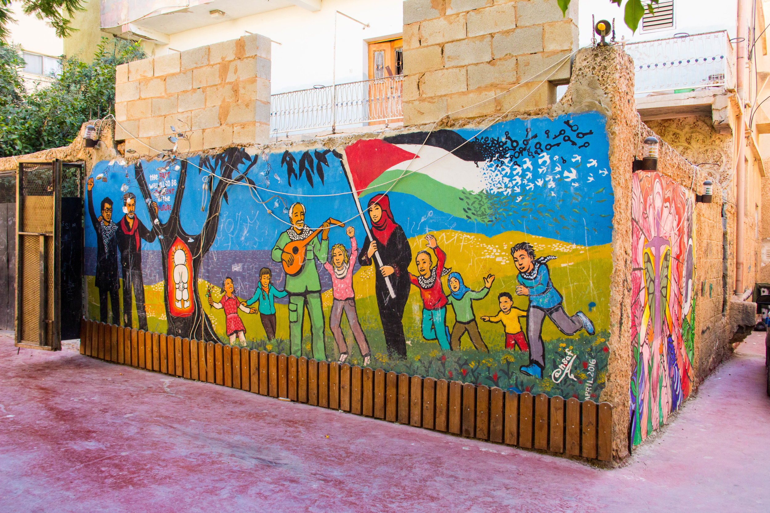 Outside of the Freedom Theatre in Jenin