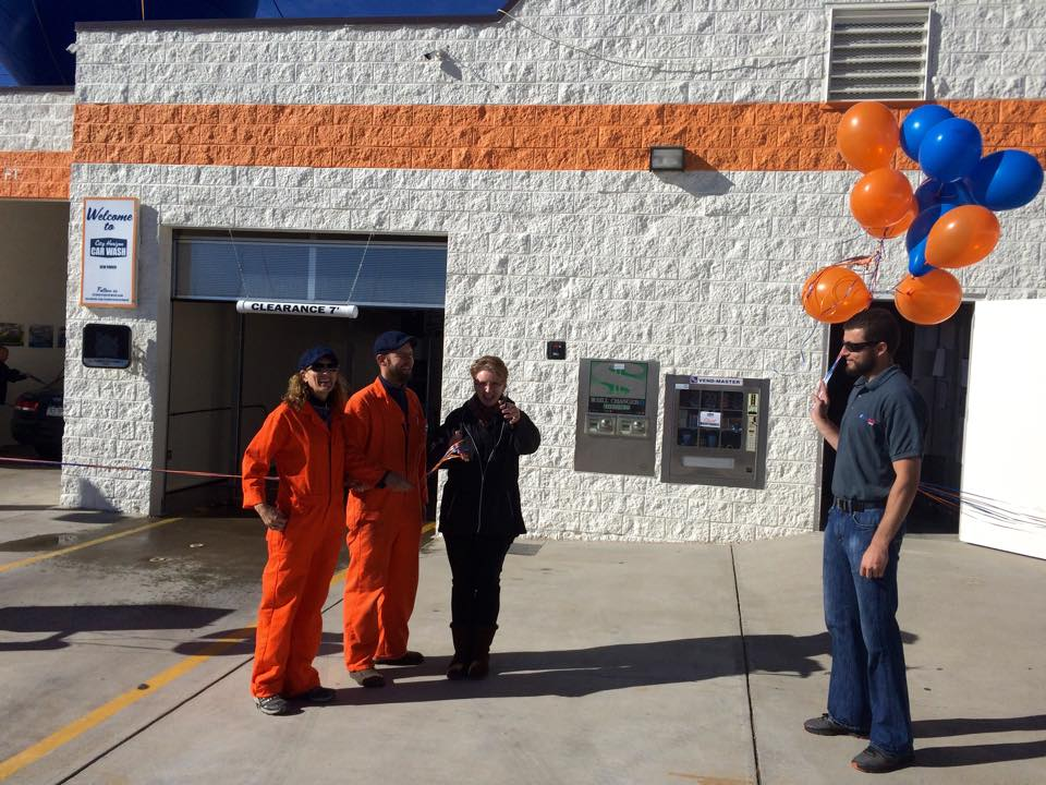 Official Opening by Adams County Treassure Brigitte Grimm and Heath Pomerantz from AutoAuto Wash.