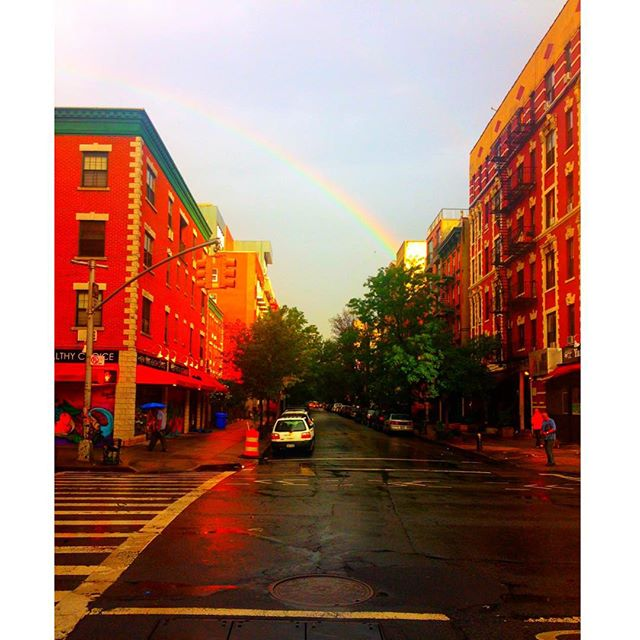 Mornin' ☀️☔️🌈 #dualcitizen #morning #morningrain #newyork #nyc #thursday #rainbow #sun #sunrise  #city #eastvillage #accessories #handcrafted #limitededition #newyorkcity