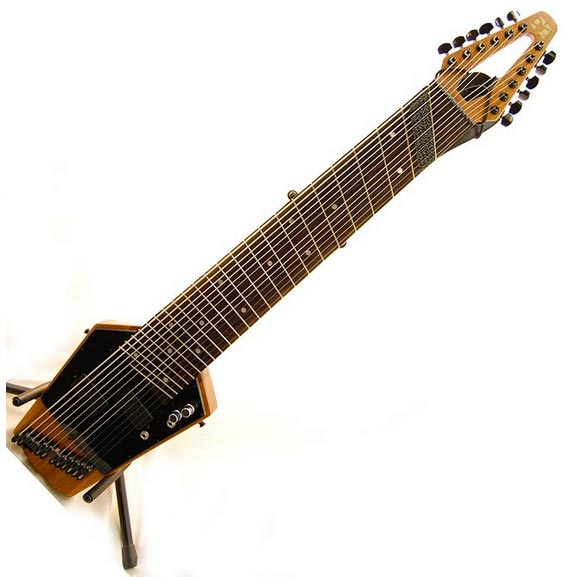 Shown here is the classic Mobius Megatar 'ToneWeaver' with fanned frets.