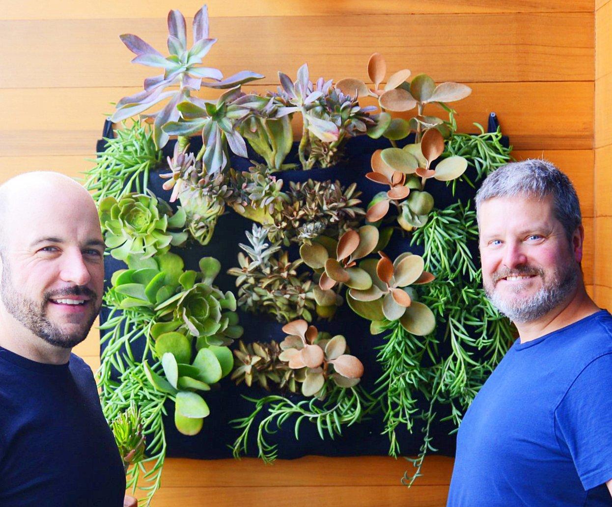 Chris and Gary in San Francisco. Florafelt 12-Pocket Vertical Garden Planter.