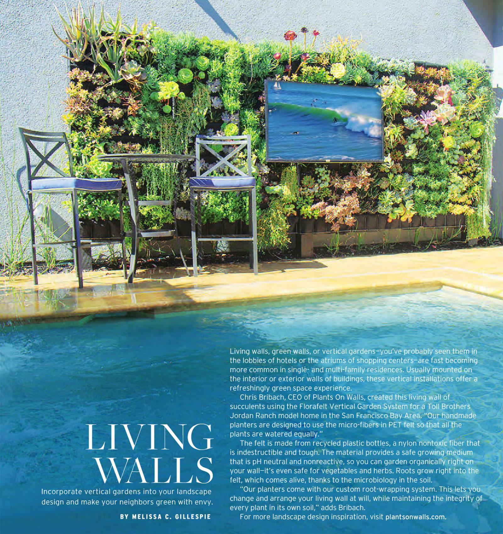 Luxury Pools Magazine. Chris Bribach, Plants On Walls. Florafelt Pro Vertical Garden System.