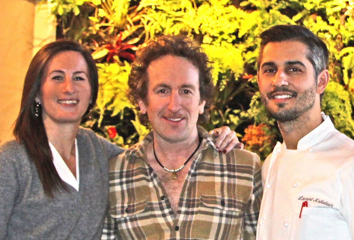 Leslie Affre, FireDean Schilling and Chef Laurent Kalkotour. The Brooklyn Garden Club,   Atrium   DUMBO.