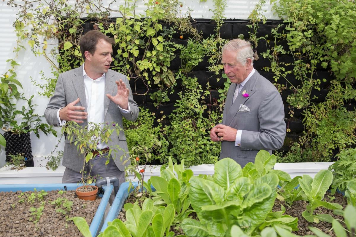 Florafelt Vertical Garden visited by Prince Charles at the Humble By Nature Aquaponic Greenhouse