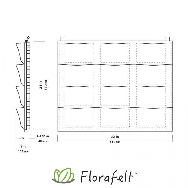 Florafelt 12-Pocket Panel Living Wall System Specs