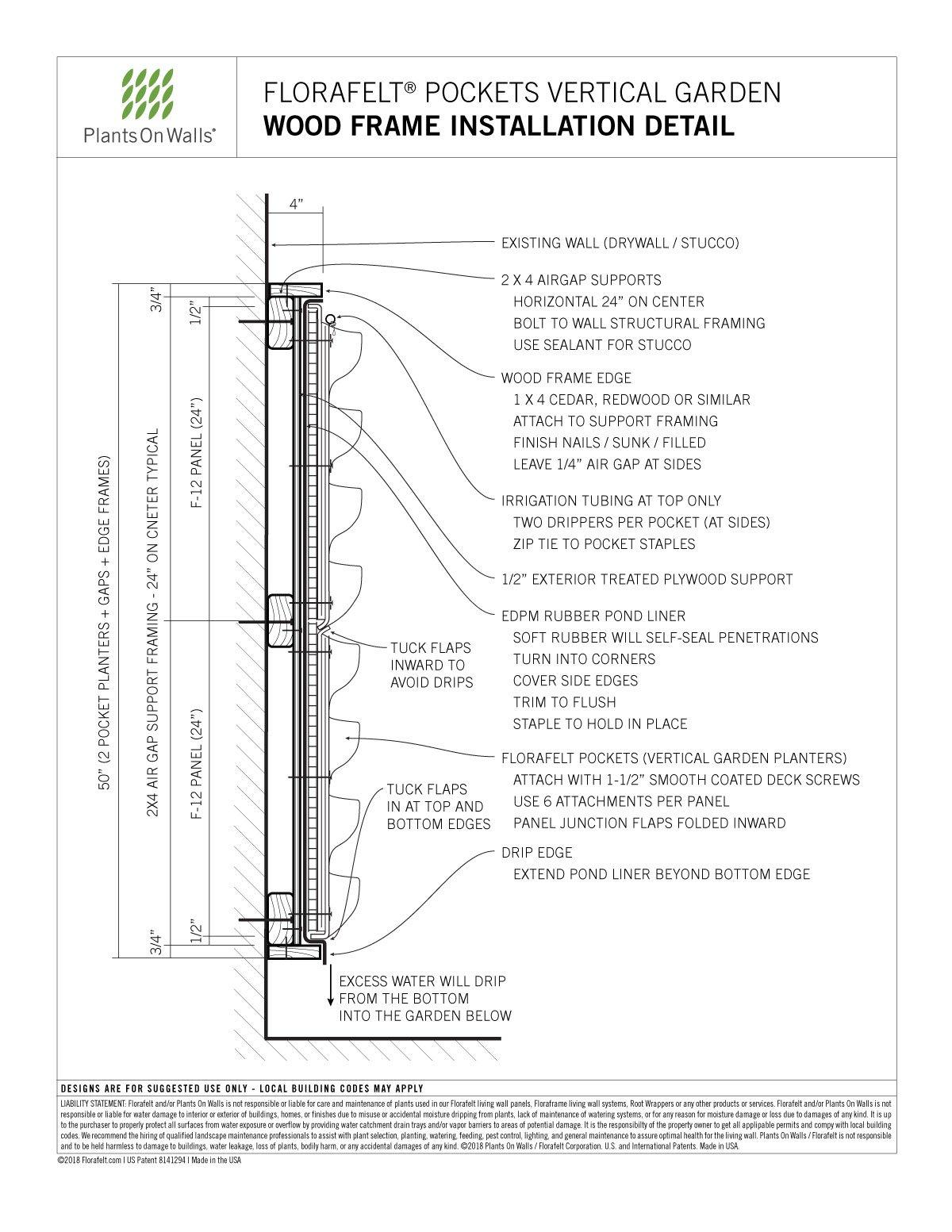 Florafelt Pocket Panel Wood Frame Installation Detail