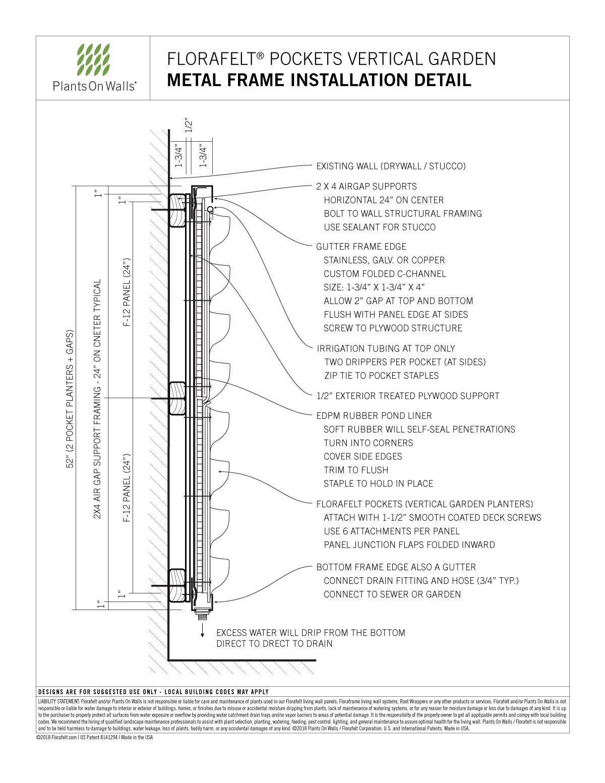 Florafelt Pocket Panel Metal Frame Installation Detail