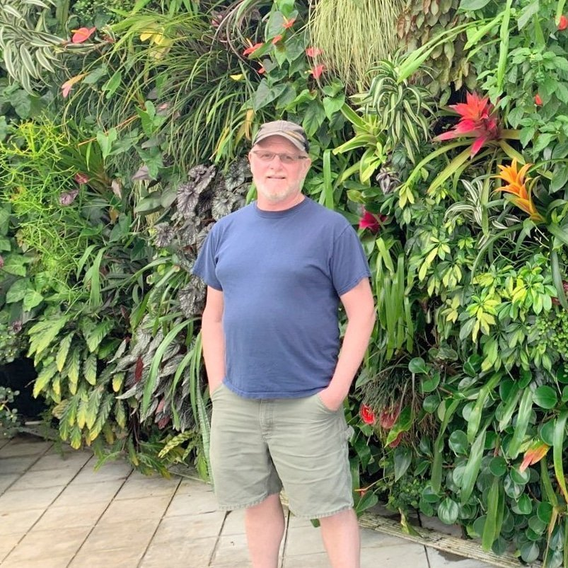 Chris Bribach at the San Francisco Conservatory of Flowers Florafelt Pocket Panels living wall donated by Plants On Walls in 2012.