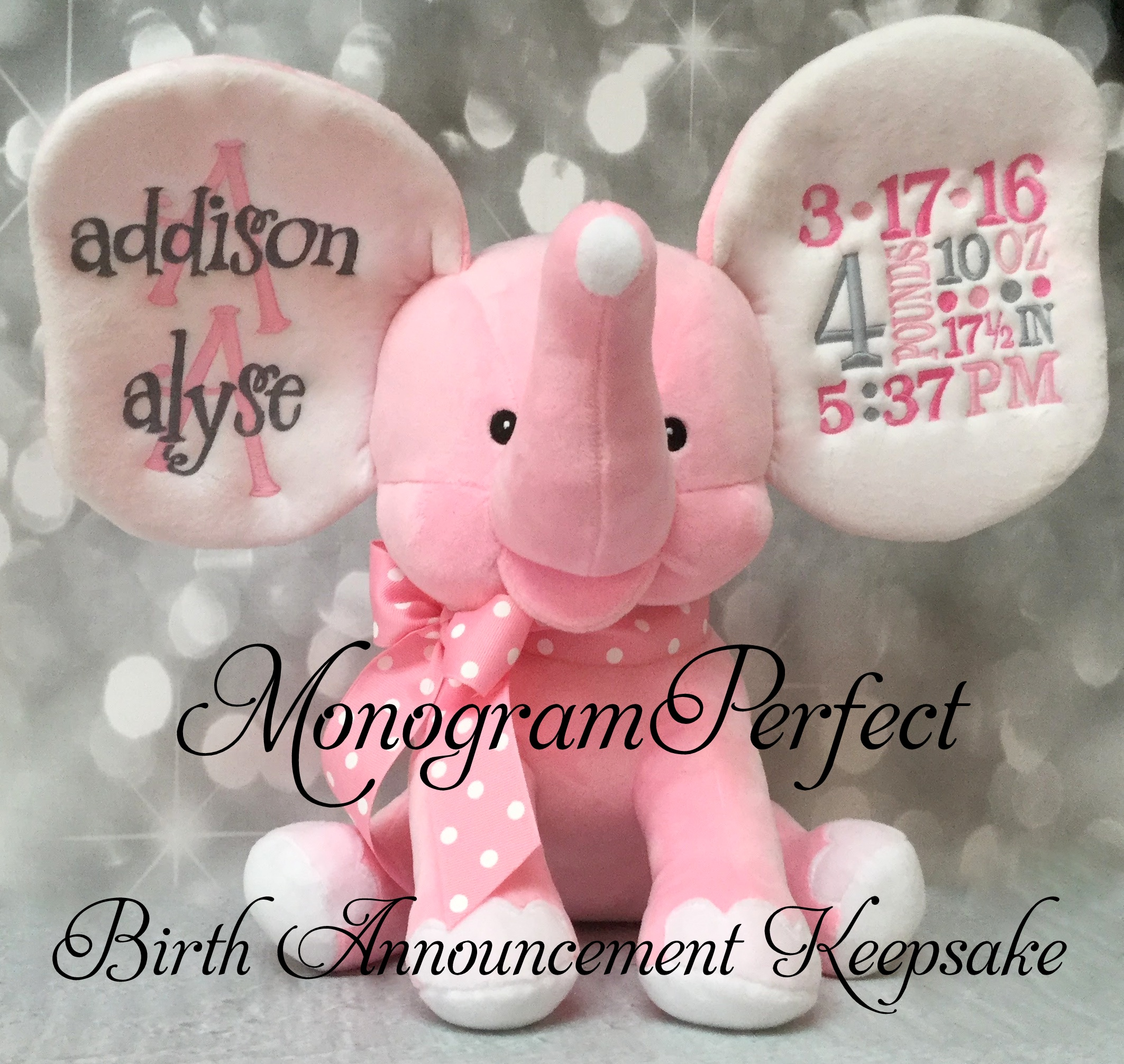 New Style Exclusive Light Pink Birth Announcement Stuffed