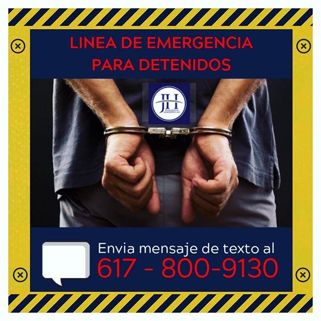 LINEA DE EMERGENCIA PARA DETENIDOS DE JOHANNA HERRERO & ASOCIADOS: Si tu, un familiar o amigo son detenidos por inmigración, envíanos un mensaje de texto al 📲617-800-9130 Por favor incluye los siguientes datos: •Nombre completo del detenido •A-Number •Un número de teléfono para devolverte la llamada  Y recuerda que si necesitas una consulta GRATIS llama a: 📲 Miami 786-500-1200 / Boston 📲 617-720-5200 📧 jh@jherrerolaw.com / 🌐 www.hcley.com