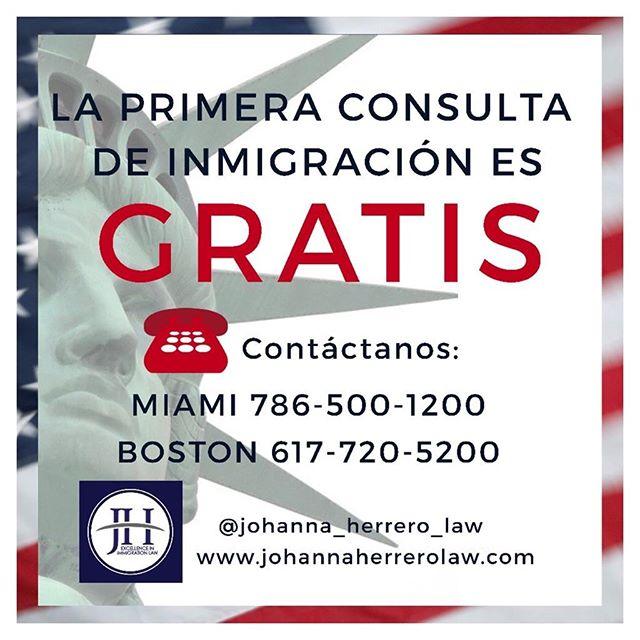 JOHANNA HERRERO & ASOCIADOS, Abogados de Inmigración!  Recuerda que es muy importante que revises tus alternativas migratorias con regularidad. Las leyes de inmigración cambian constantemente y siempre ofrecen posibilidades para tu legalización.  Llama HOY, tu primera consulta es GRATIS! Miami 📲786-500-1200  Boston 📲 617-720-5200 📧 jh@jherrerolaw.com / 🌐 www.hcley.com  #venezolanosenmiami #colombianosenmiami #cubanosenmiami #miami #boston #ABOGADAS #ABOGADOS #inmigracion #inmigración #johannaherreroyasociados #abogadajohannaherrero #immigration #deportaciones #detenidos #tps #grenncard #residenciapermanente #residencia #ciudadanía #ciudadania #citizenship #daca #sij #jovenesinmigrantes #inmigrantesenusa #hispanos #hispanic #latinos