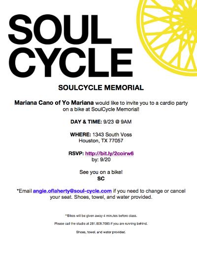 Invitation Yo Mariana Soul Cycle