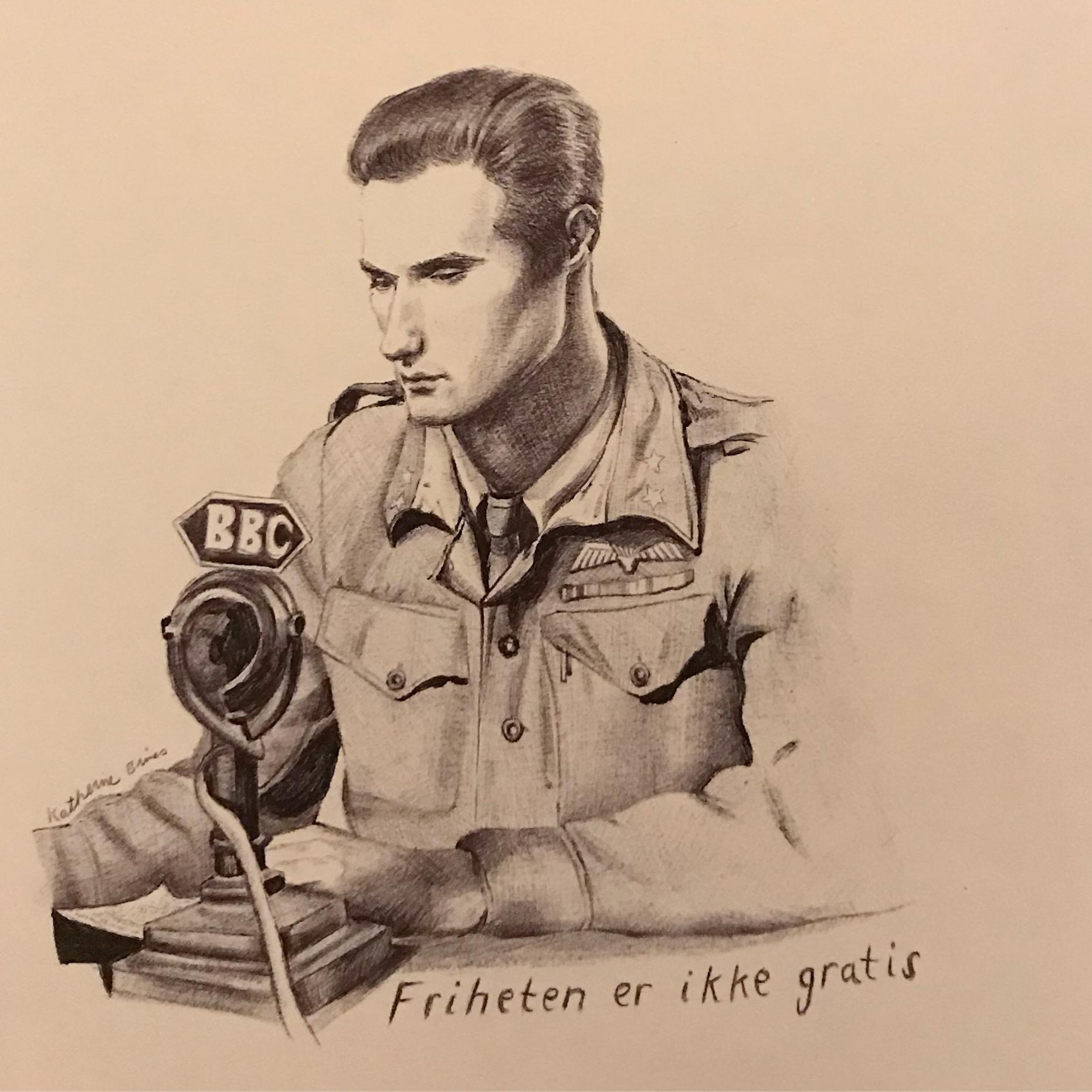 Joachim Ronneberg, WWII Norwegian War Hero,  pen & ink,  a gift to the family of Joachim Ronneberg by the Norwegian army