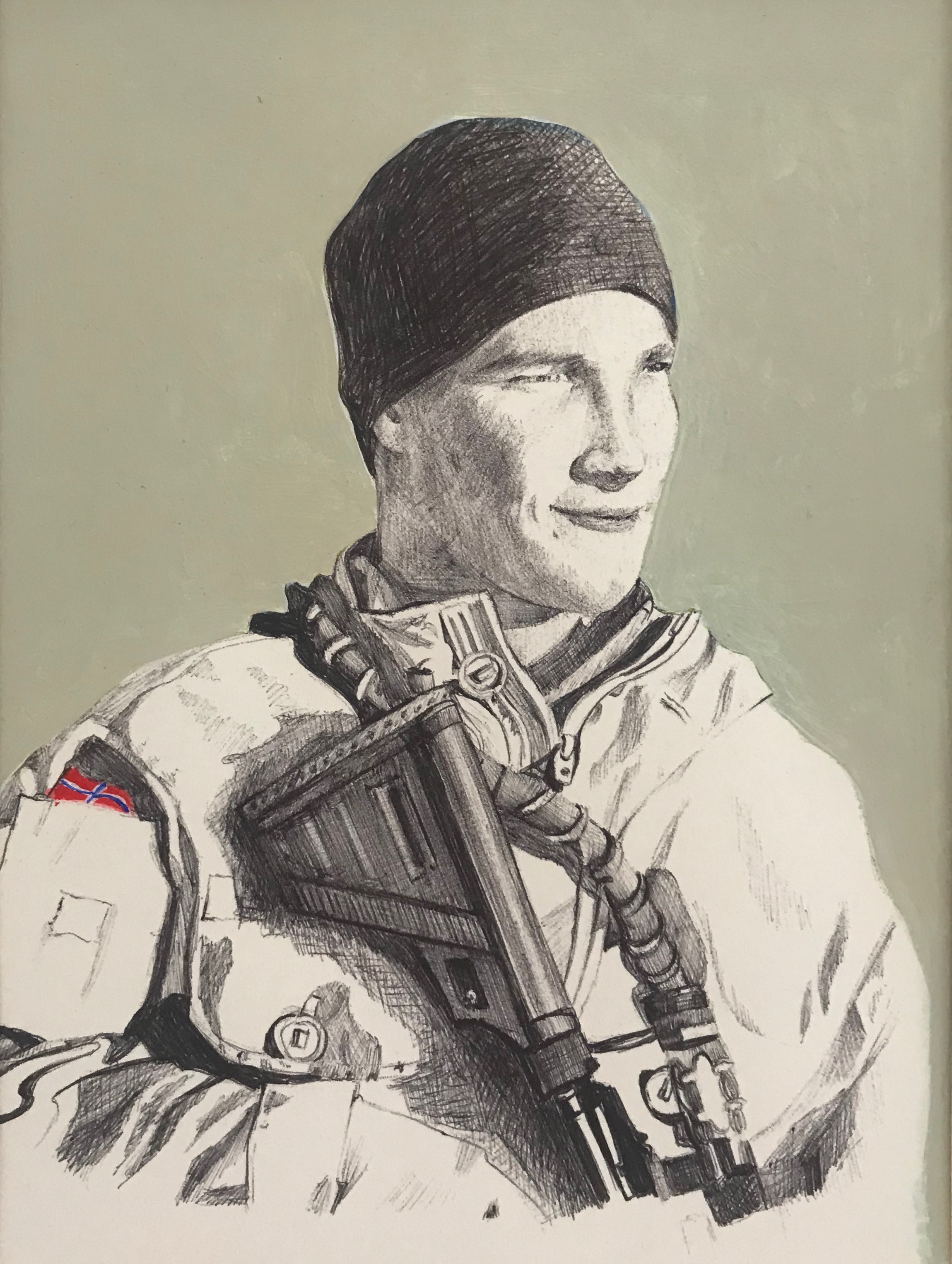 Soldier, pen & ink & acrylic on paper, 12 cm x 17 cm