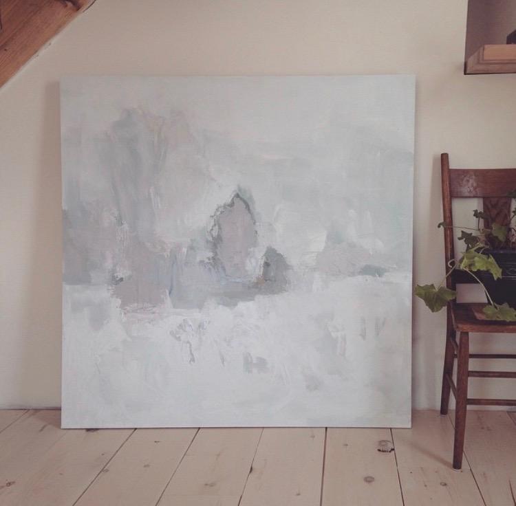 Sun & Snow, 121 cm x 121 cm, oil on panel