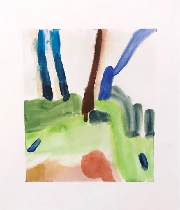 På Stranda II, 5 cm x 6 cm, watercolor on paper