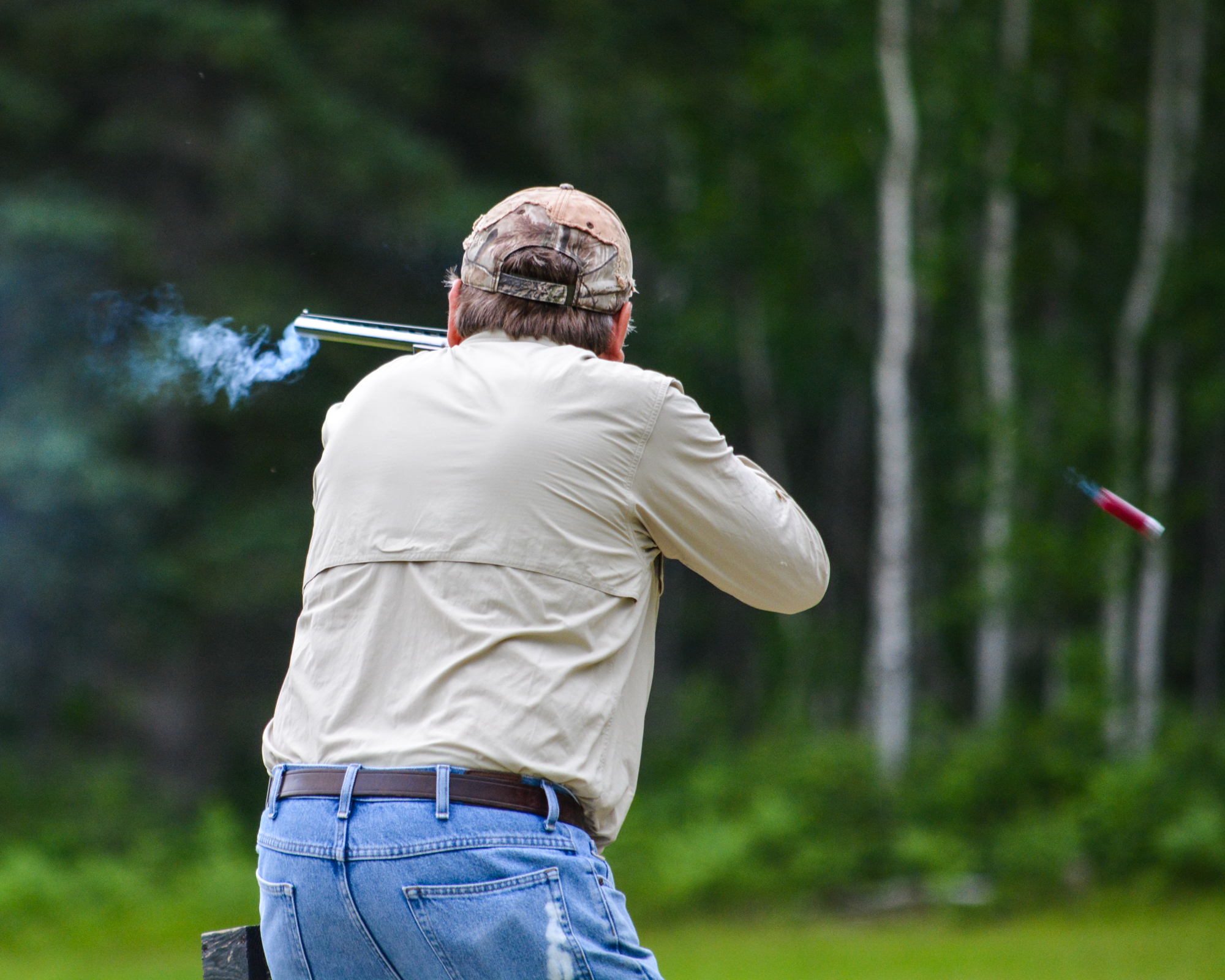 A shot goes off at the North Beltrami Sportsmens Club.