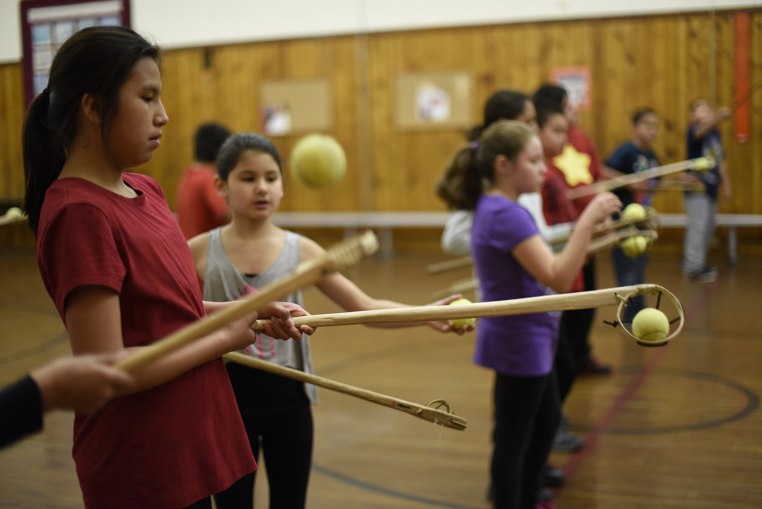Students at St. Mary's Mission School in Red Lake are taught traditional indigenous games.
