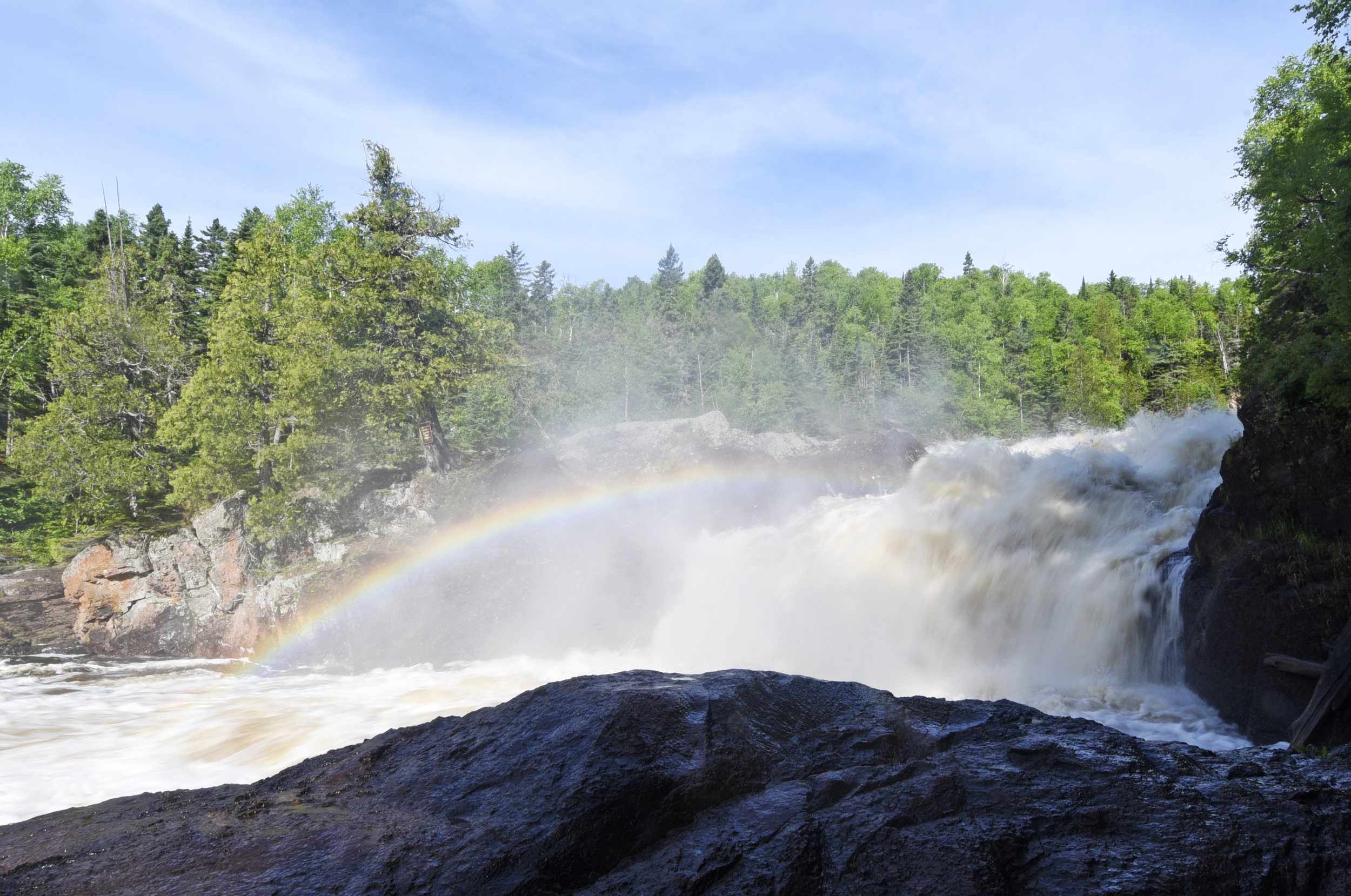 A rainbow over the Brule River in Judge C.R. Magney State Park.