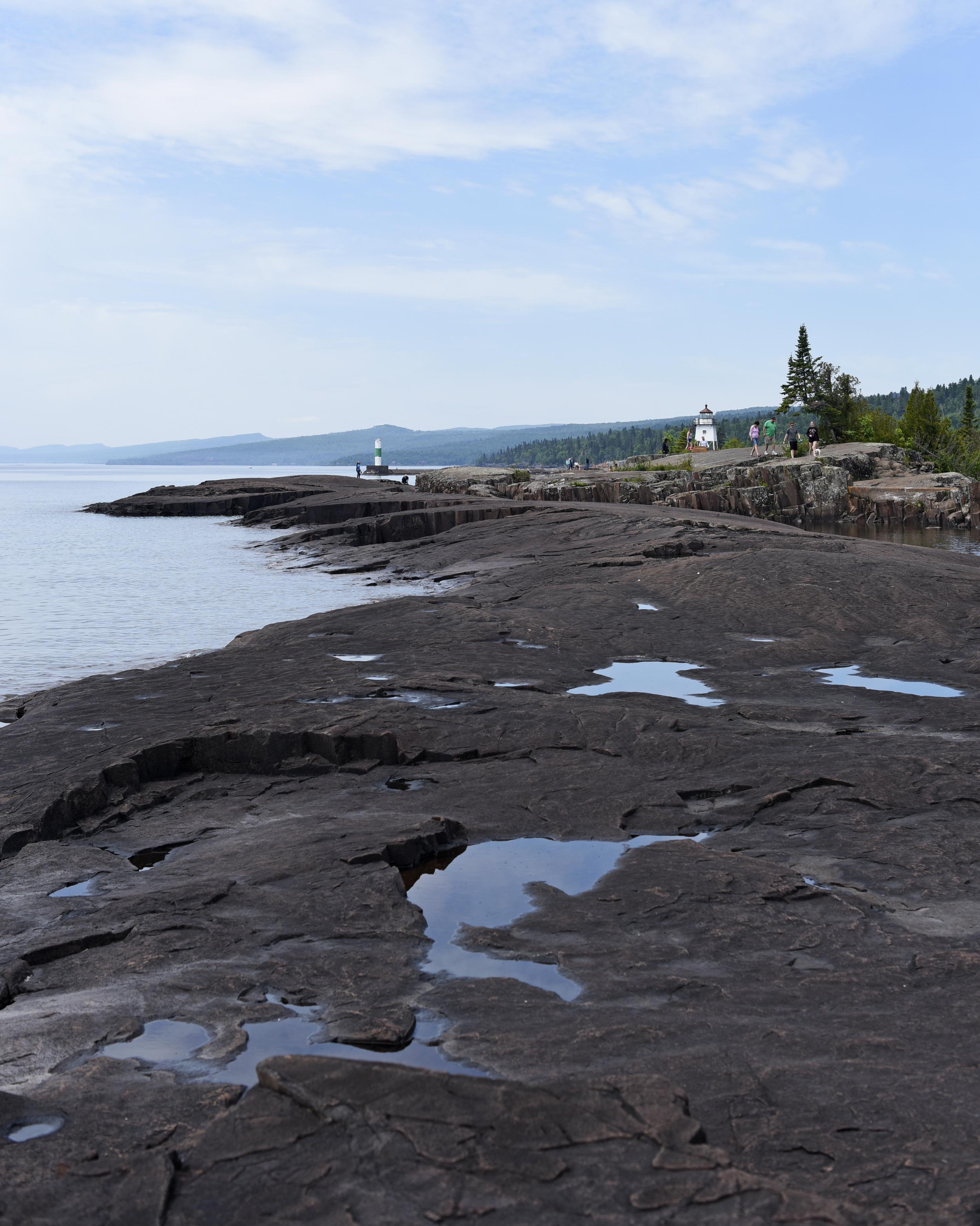 The Lake Superior shoreline in Grand Marais, Minn.