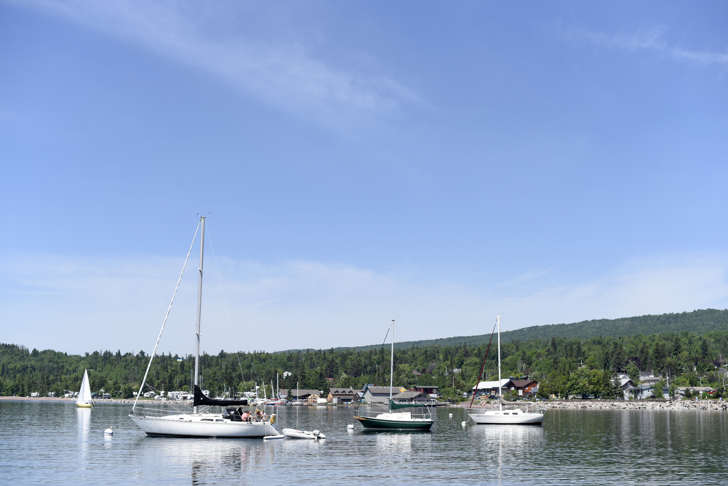Boats in the harbor on Lake Superior in Grand Marais, Minn.