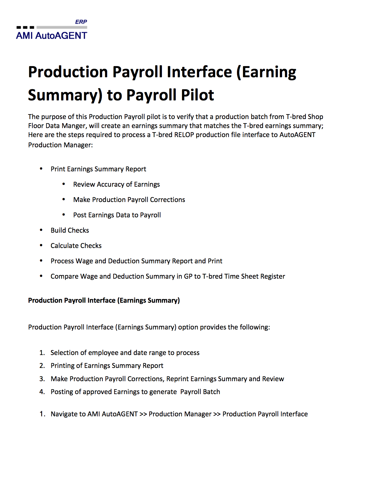 Production Payroll Interface