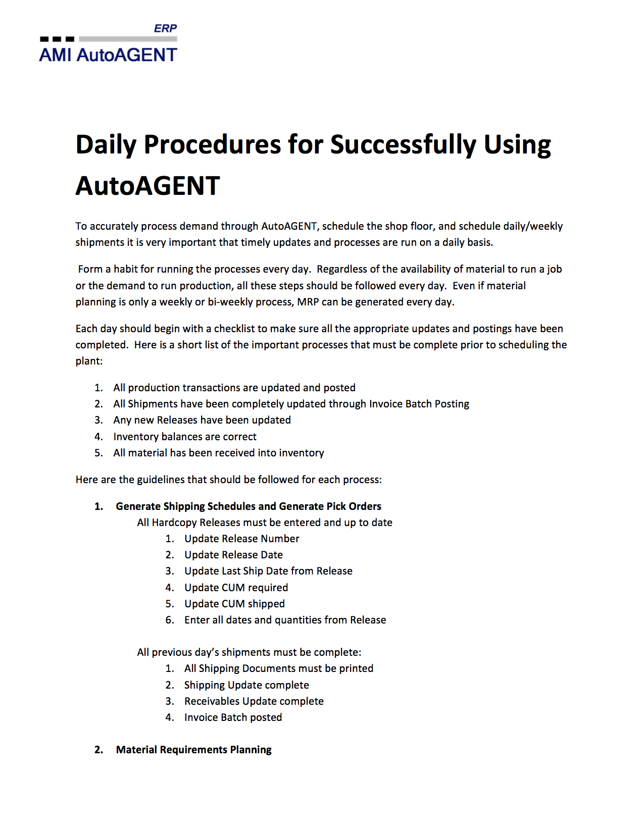 Daily Procedures For Success
