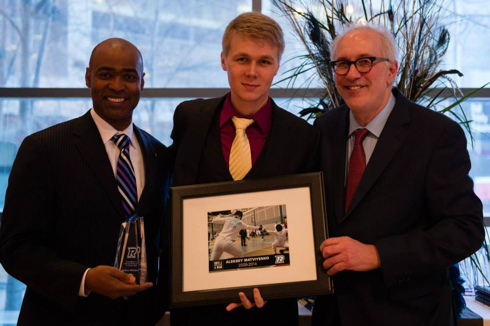 Aleksey Matviyenko with Ryerson University President Sheldon Levy and Athletic Director Dr. Ivan Joseph during the annual Athletic Banquet