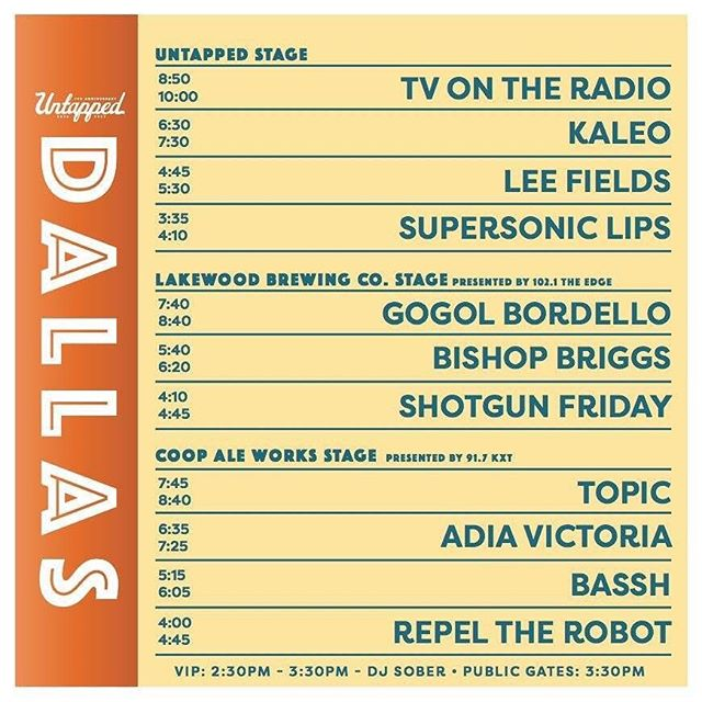 DALLAS...are you ready to party?!? kick off @untappedfest early with us tomorrow at 4:00pm // @coopaleworks stage presented by @kxtradio // oh and we have a big surprise in our set 🤖🔥🍻😎 #mavs #cowboys #beer #Dallas