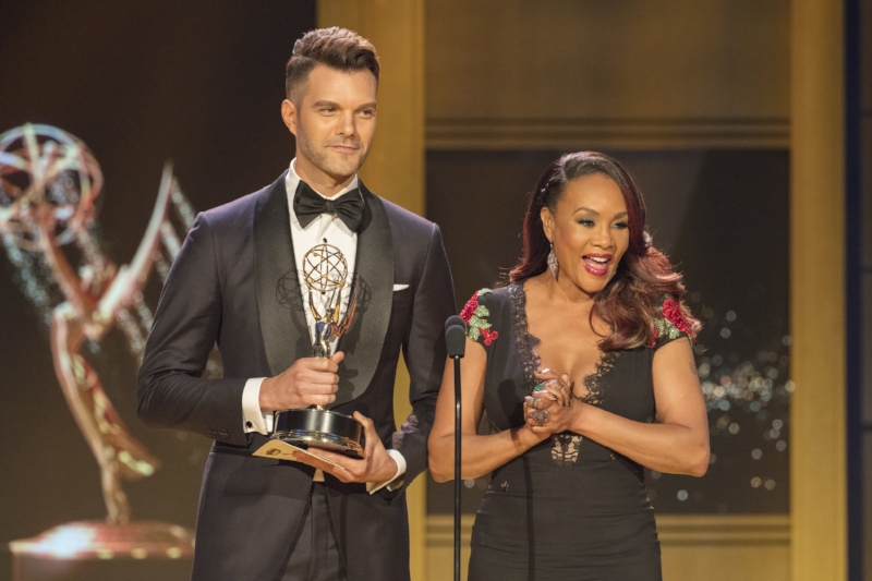 """Presenting at the Daytime Emmys alongside the FLAWLESS Vivica A. Fox was a career highlight. I will forever be grateful to my mentor and friend David Michaels, senior vice president of the Daytime Emmys, for the incredible opportunity. I had no idea that I'd find myself in another personal """"rock bottom"""" moment less than 48 hours later. Photo Cred: Bill Dow"""
