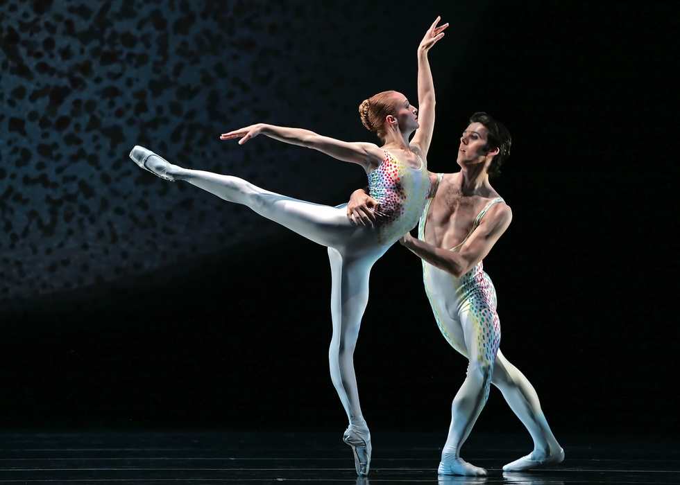 "Sara Webb and Connor Walsh in Glenn Tetley's ""Voluntaries."" Photo by Amitava Sarkar, Courtesy Houston Ballet."