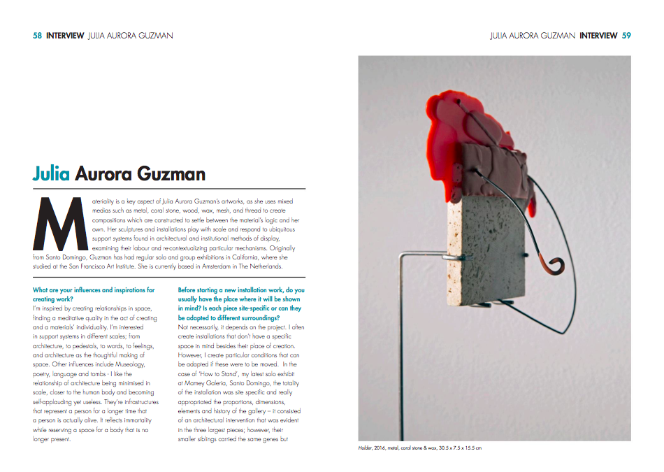 INSIDE ARTISTS - Inside Artists, a quarterly international contemporary arts and culture magazine based in the UK, interviews Julia Aurora Guzmán in their current 13 Issue with a 6 page feature.Read here.
