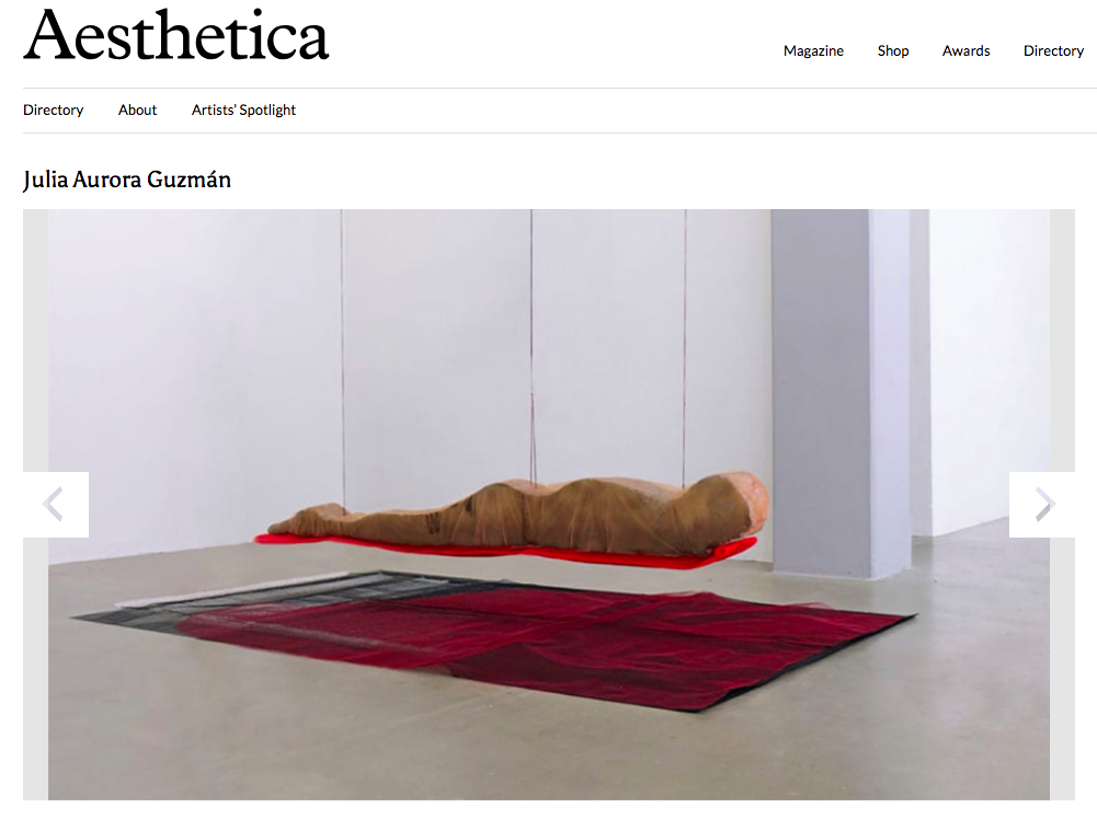 AESTHETIICA - Julia Aurora Guzmán makes appearance in the Artists' Directory of the UK based Aesthetica Magazine Issue 87 - February/March 2019.Read here.