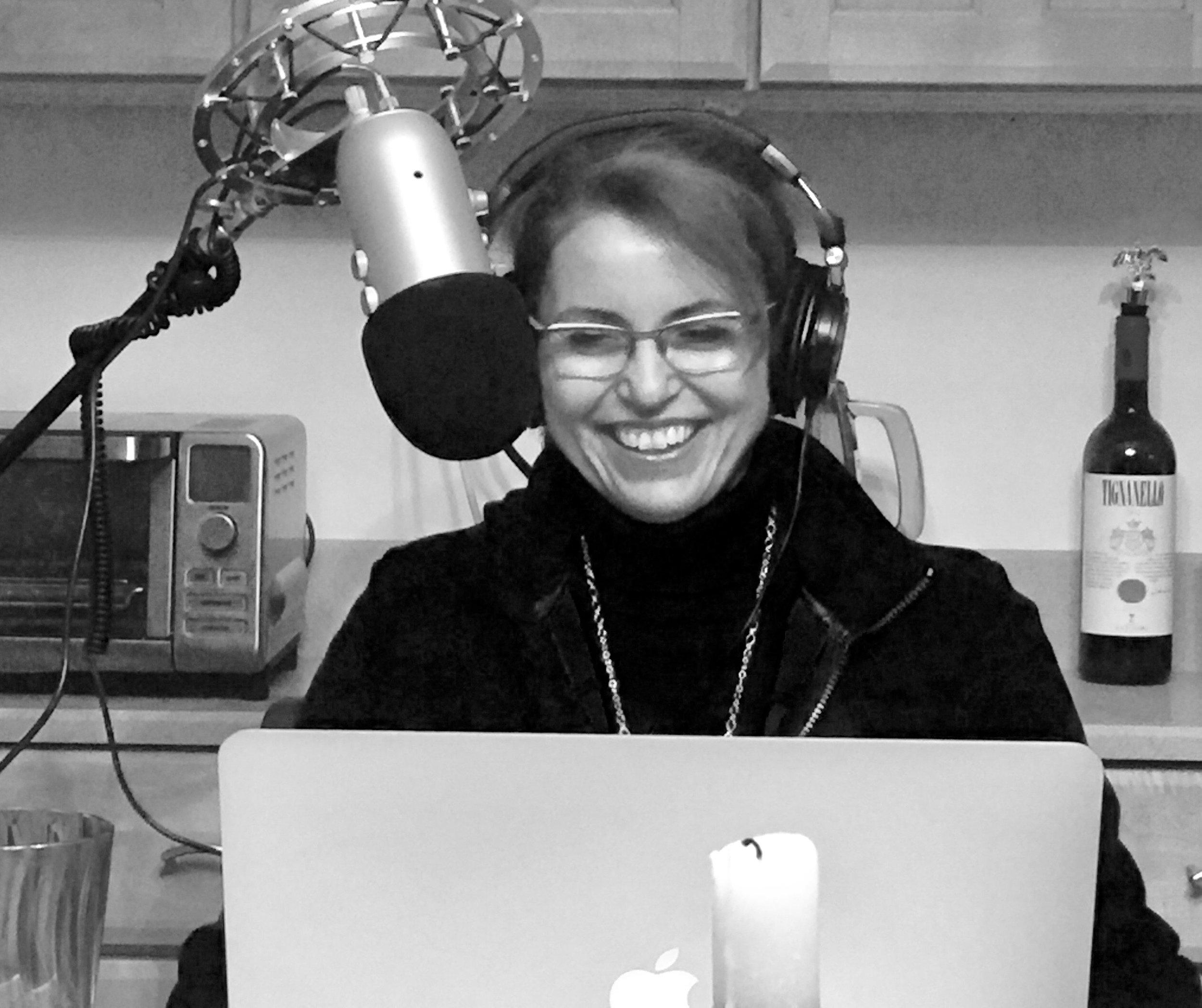 Molé Mama recording a live radio show.