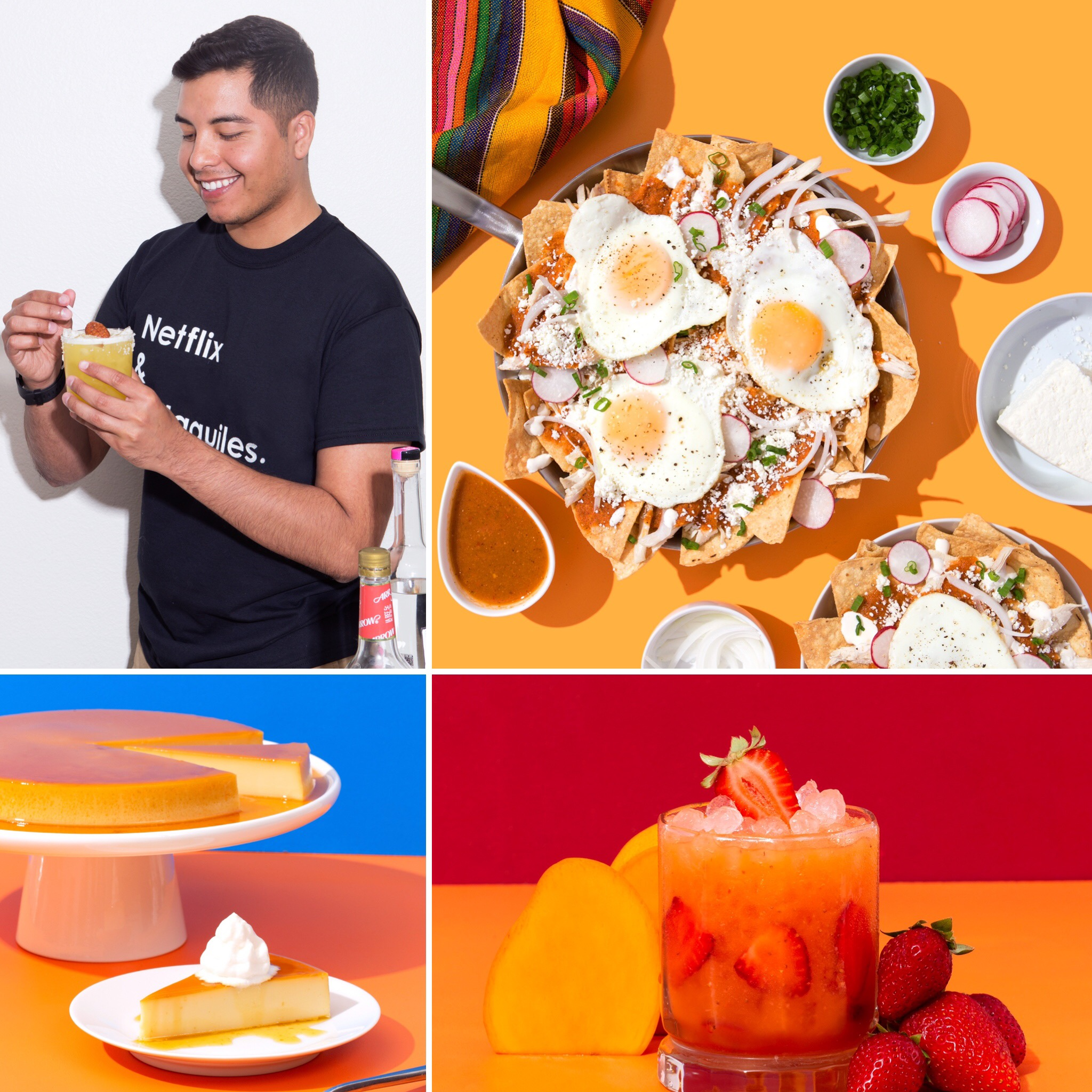 Esteban Castillo, his chilaquiles, flan, strawberry mango aqua fresca