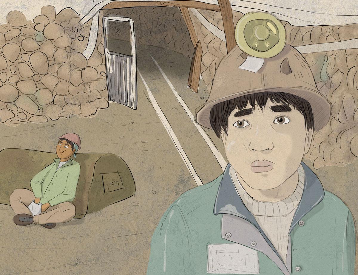 Il lavoro in miniera. Illustrazione di Federica Fruhwirth
