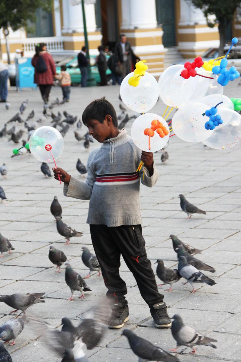 La paz, William il venditore di palloncini
