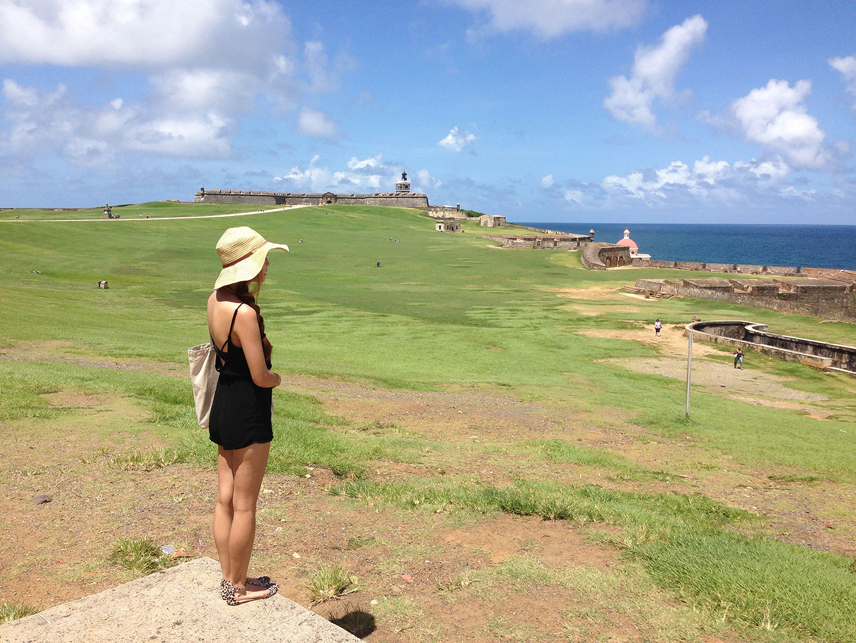 Castillo San Felipe del Morro. Hat: Nine West, Romper: H&M
